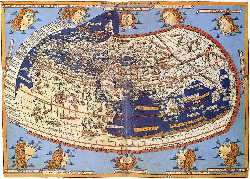 1482年出版的托勒密世界地圖的木刻版,其中已添補了新的地理知識。