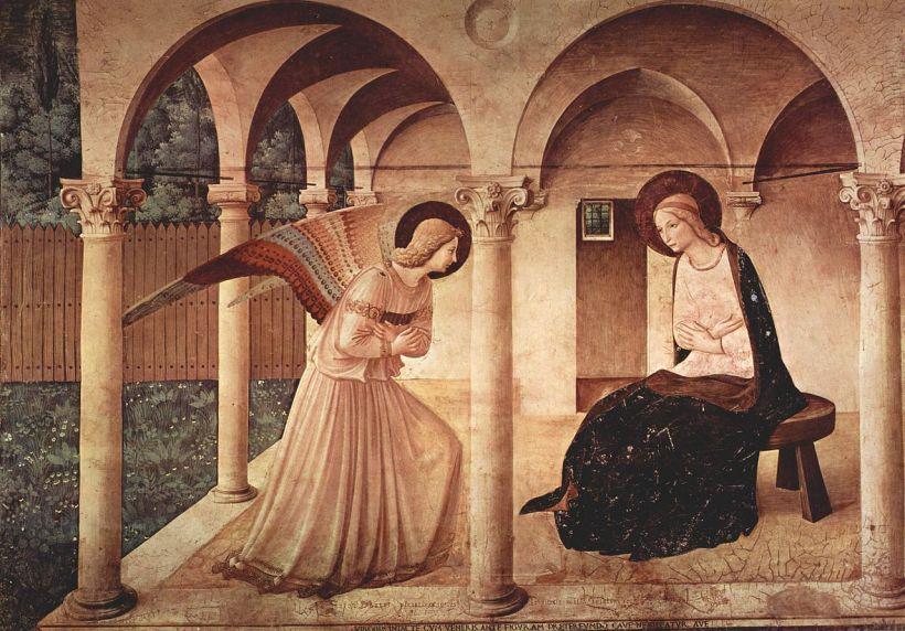 弗拉•安傑利科(Fra Angelico, 1387-1455),報喜圖,約1437-1446年,佛羅倫斯聖馬可修院(Couvent San Marco)壁畫。
