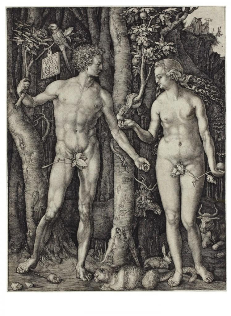 《亞當與夏娃》(Adam and Eve), 1504, 銅版直刻, 25.1 x 20 cm。