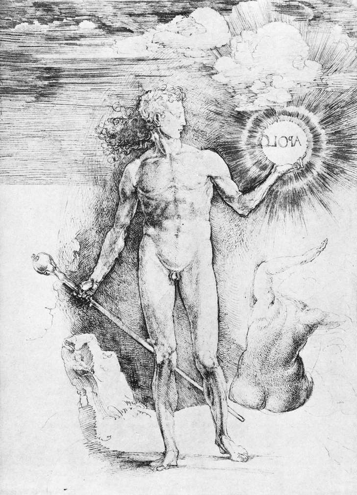 Albrecht Dürer, 《持太陽的阿波羅》(Apollo with the Solar Disc),約1504,墨水素描,28.5 cm x 20.2 cm。
