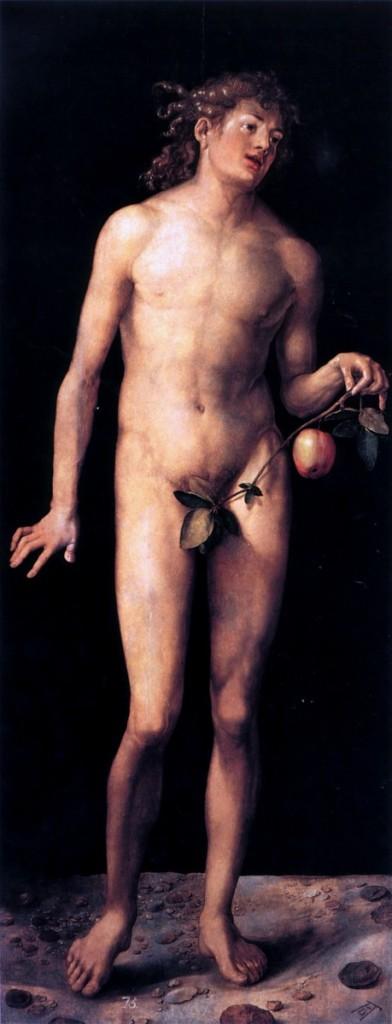 Albrecht Dürer,《亞當與夏娃》(Adam and Eve), 1507, 油彩木板, 各209 cm × 81 cm, Museo del Prado, Madrid。