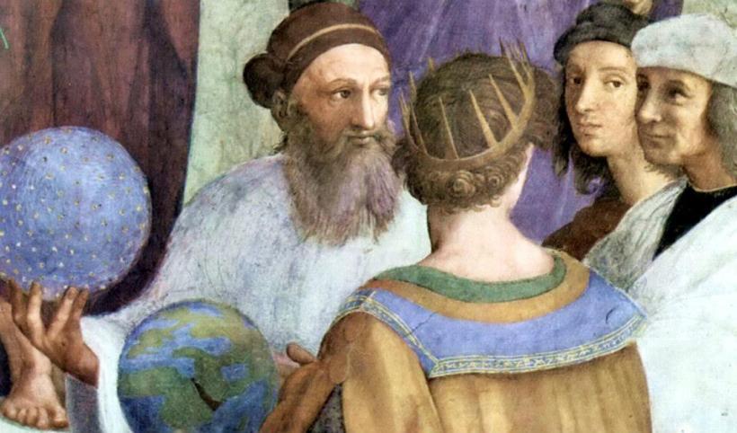 《雅典學院》畫面右下角,側著頭注視著觀眾,神態謙遜的拉斐爾,身旁是拿著一個天體球體、創立祆教的瑣羅亞斯德(Zoroaster, ca. BC 628-551)