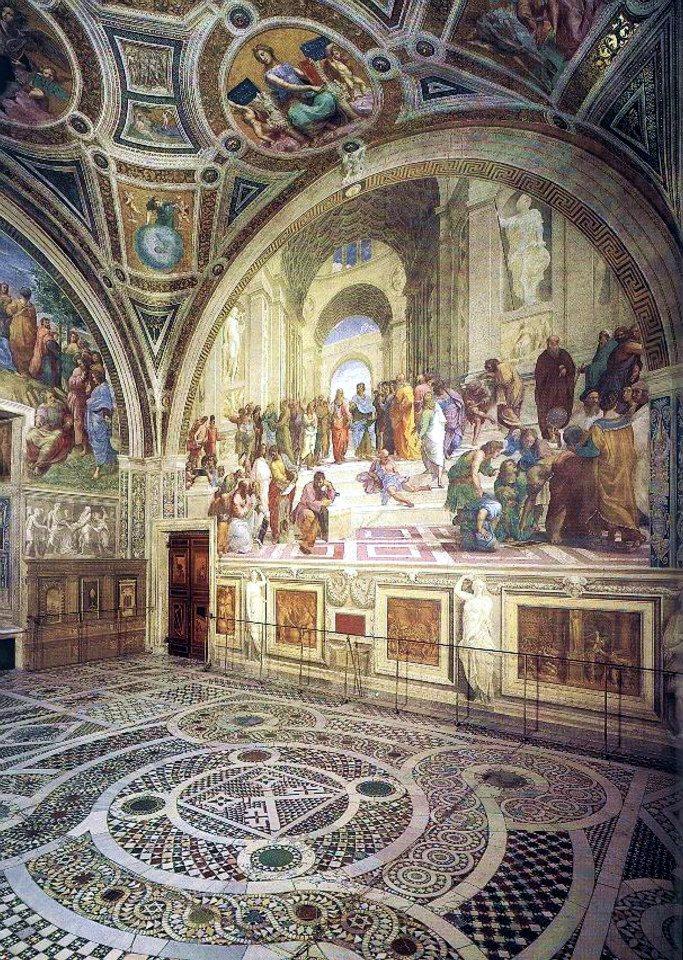 教宗居室裝飾的大型壁畫《雅典學院》