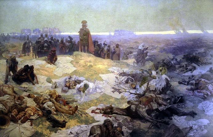 《斯拉夫史詩》其中的一幅作品《格林瓦德戰後》