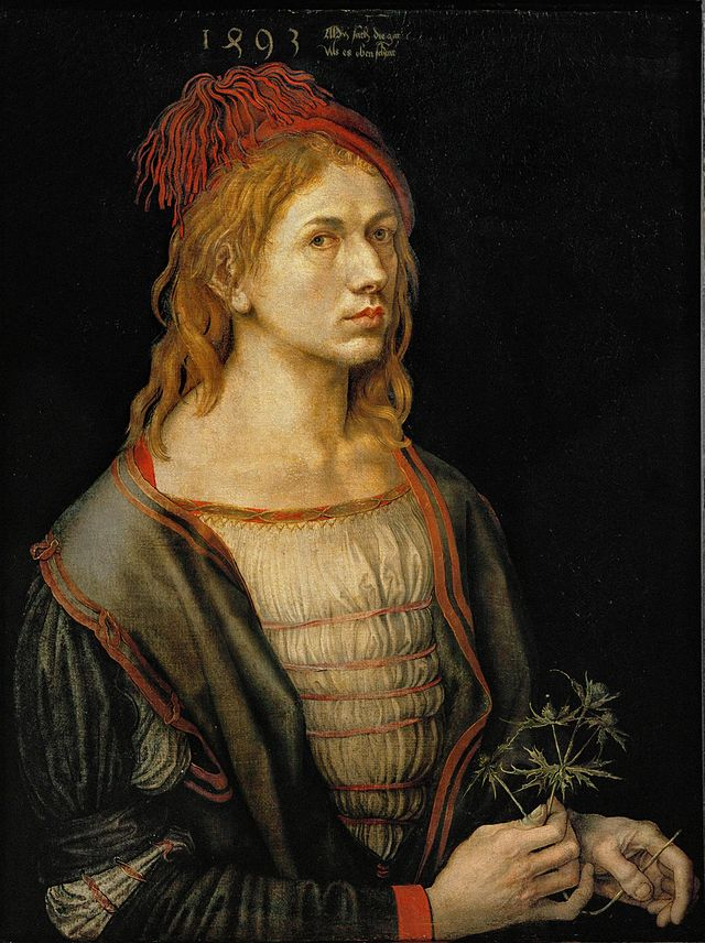 杜勒,《自畫像》,1493,油彩羊皮紙轉貼畫布,56 × 44 cm,Musée du Louvre, Paris, France。