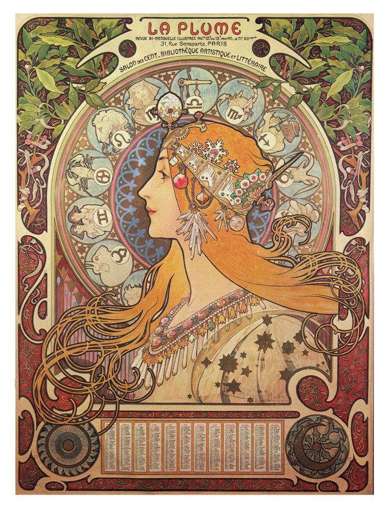 慕夏,《黃道十二宮》(Zodiac)海報,彩色石版。