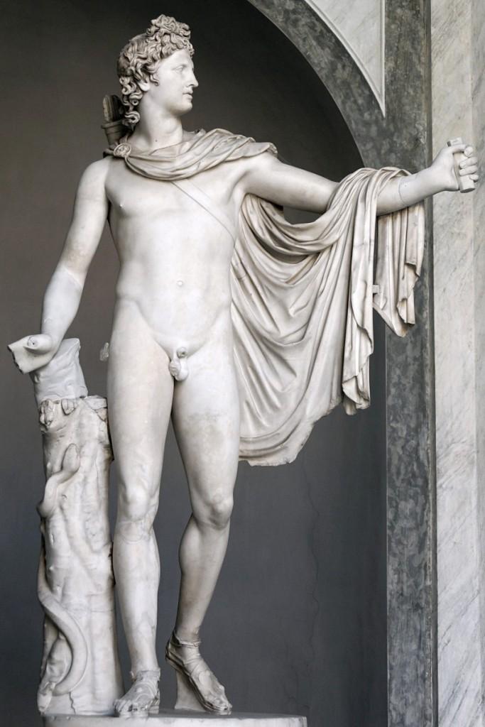《美景宮阿波羅》(Apollo Belvedere),約120–140年,仿刻約西元前350–325銅雕,白色大理石石雕,224cm,Vatican Museums, Vatican City。