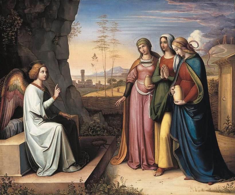 馮‧柯里奧斯,《墓前的三位瑪麗亞》(The Three Marys at the Tomb),1815-22,油彩畫布,63 x 75 cm,Neue Pinakothek, Munich, Germany。