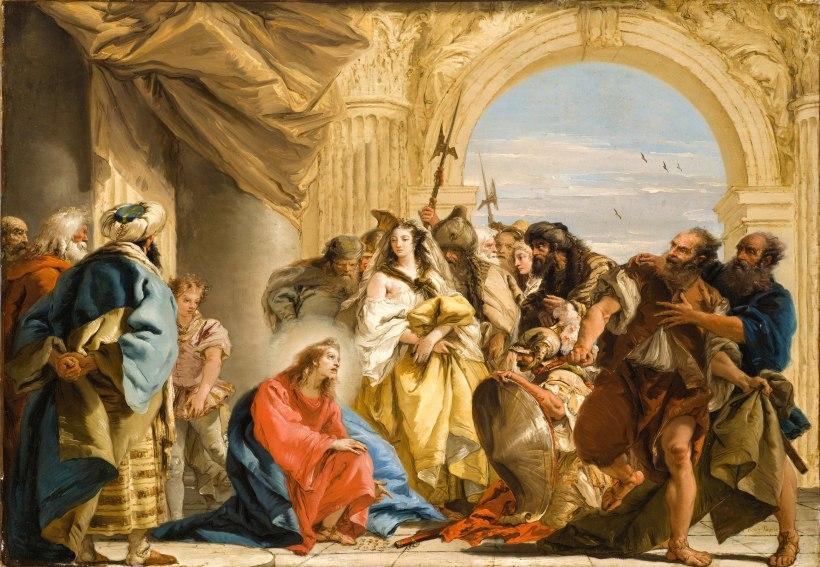 圖六:提波羅,《基督與行淫的婦人》(Christ and the Woman taken in Adultery),1752,油彩畫布,72.7 × 104.8 cm, Los Angeles County Museum of Art, USA。