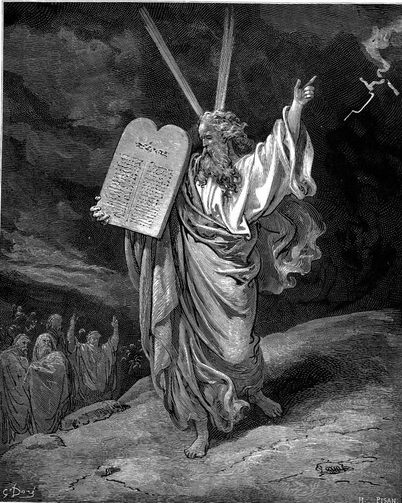摩西攜帶法版下山,出自朵黑的《聖經插圖》,1865年。在朵黑的插圖中,他採用類似角的兩道光束來展現摩西的榮光。