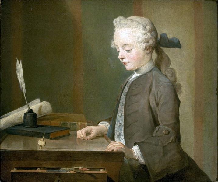 《玩陀螺的小男孩》(Portrait of Auguste Gabriel Godefroy),1738,油彩畫布,67 x 76 cm, Louvre, Paris, France。