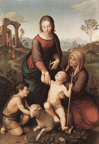 奧佛貝克,《神聖家族》(Maria und Elisabeth mit Jesus und dem Johannesknaben),1825,Neue Pinakothek, Munich, Germany。