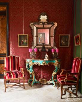 【門廳】十八世紀威尼斯鏡、路易十五邊桌、法國攝政扶手椅、古董燭架