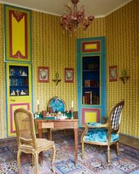 【遊戲室】路易十六桌子、路易十六扶手椅(包覆François Lesage刺繡)、路易十五藤背椅、威尼斯吊燈