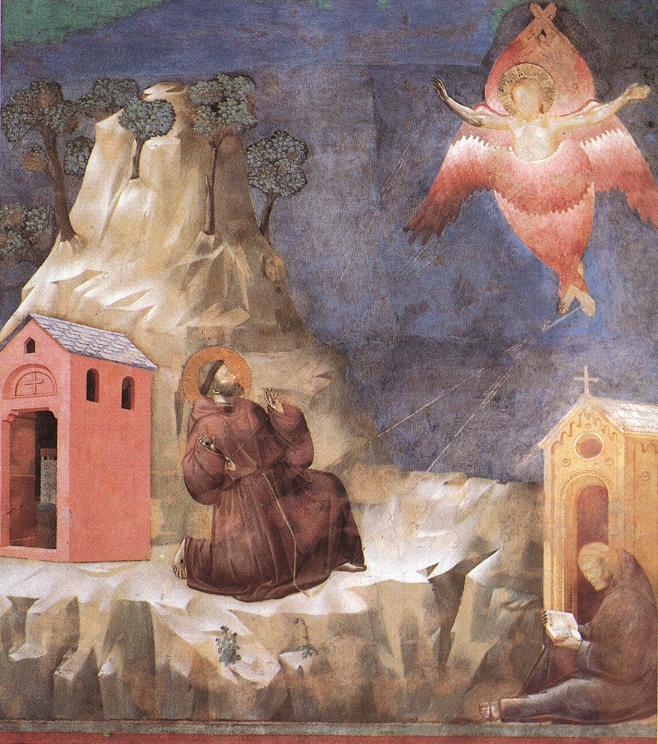 喬托(Giotto di Bondone, 1267-1337),聖方濟聖傷圖(Stigmatization of St Francis),阿西西大教堂(Basilique Assise)壁畫。圖中轉移聖傷的天使便是撒拉弗,喬托以聖經的語言勾勒這位天使:「用兩個翅膀遮臉,兩個翅膀遮腳,兩個翅膀飛翔。」(以賽亞書 6:2)