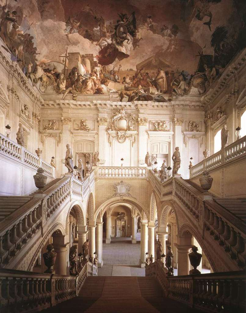 圖四:德國伍茲堡城(Würzburg)主教行宮的巴洛克大階梯與提波羅的四大洲壁畫局部。(圖片出處)