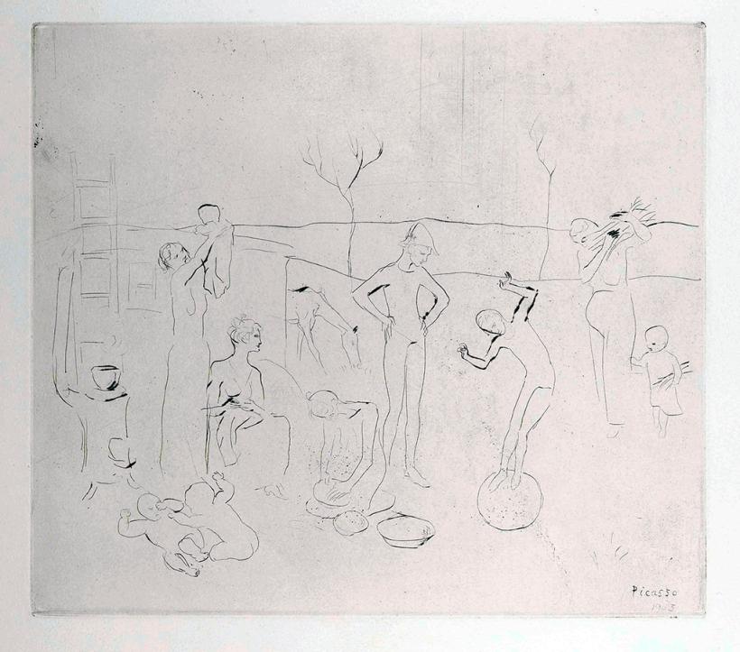 圖二:《雜技演員》(The acrobats),1905,針刻與蝕刻,28,8 x 32,6 cm。