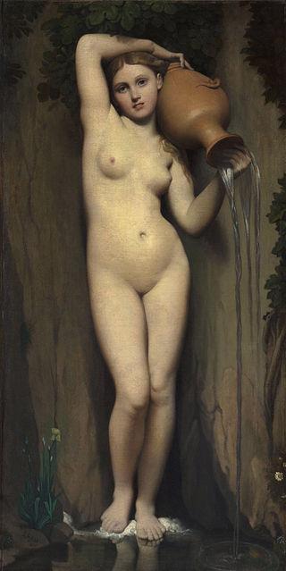 安格爾,《泉源》(La Source),1820-56,油彩畫布,163 × 80 cm,Musée d'Orsay, Paris, France。
