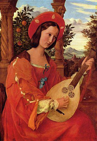 希諾爾,《彈魯特琴的克拉拉‧畢昂卡》(Porträt der Frau Klara Bianka von Quandt mit Laute),1820,木板油畫,37 × 26 cm,Alte Nationalgalerie, Berlin, Germany。這幅作品據稱參考過拉菲爾的《阿拉岡的約翰娜》(Joanna of Aragon)。