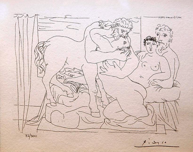圖五:《半人馬獸與女人》(centaur with woman),石版。