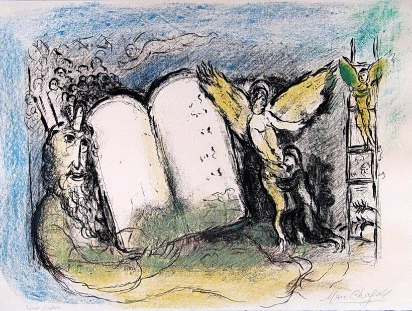 摩西與十誡,夏加爾的彩色石版版畫,約1960年。夏加爾繪製了不少聖經的圖像,在摩西的部分,他也以光束的方式處理摩西的榮光。