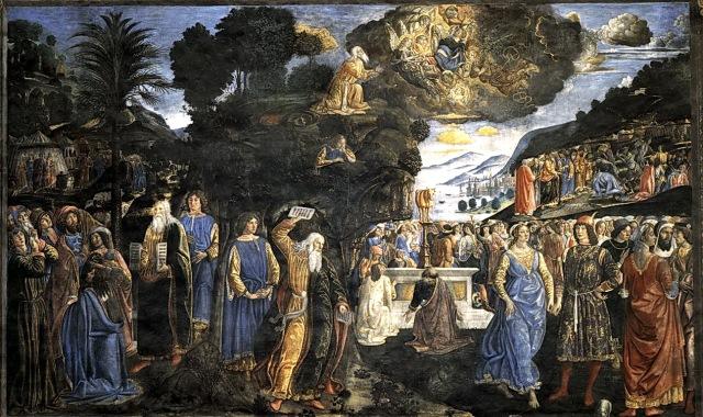 摩西領受十誡壁畫,科西摩‧羅賽利(Cosimo Rosselli, 1439-1507)繪製,梵諦岡西斯汀教堂(Cappella Sistina),1481-1482年。在羅賽利的壁畫中,他在一張畫面中繪製了摩西領取十誡的連環組圖,我們看到中間上方,摩西在西奈山上從有天使圍繞的神手中接過十誡法版,而約書亞則在山腰中打盹等候。在畫面左下方,摩西帶著法版下來,臉上有著榮光,約書亞跟在他身後。畫面中央,便是摩西見到以色列人祭拜金牛犢,勃然大怒摔碎石版那一幕。畫面右上方,可以看見摩西清理門戶的場面。這張連環組圖,繪製的是摩西第一次領取十誡石版的幾個關鍵時刻,藝術家在這已繪出摩西臉上的榮光,他並未以長角的方式處理,可見在文藝復興時期,摩西的角在教會的理解與解釋中,便是榮光的象徵。米開朗基羅可能無法在雕像上刻出榮光,而繼續借用中古後期流行的角來表現。