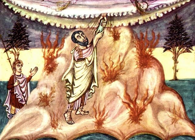 西領受律法,出自西歐中古早期的手稿插圖,約840年。這個時期關於摩西的圖像,並未見到摩西頭上有角。