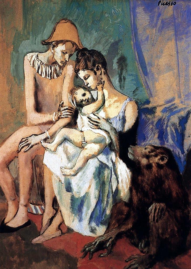圖三:《雜技演員一家與猴子》(Family of acrobats with monkey),1905,不透明水彩、水彩、粉彩與墨水紙板,104 x 75 cm。畢加索的多元媒才作品,可以預先看出他之後多變的創意手法,溫暖的色調與主題,貼切說明他「粉紅色時期」的特徵。