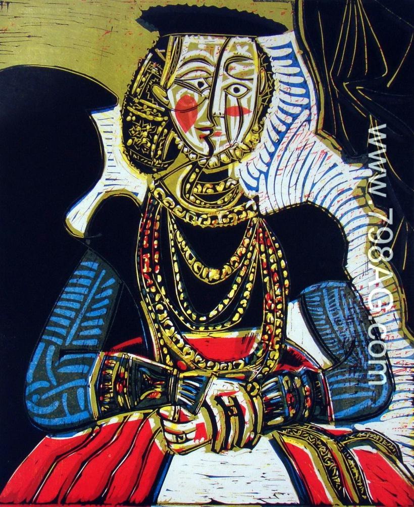 圖八:《仿小克拉納赫的女子圖》(Buste de Femme,d'apres Cranach le Jeune),1958,彩色膠版,77.5 x 57.2 cm。這時期的畢卡索經常運用前輩大師的構圖與題材,加以變形改造,以對話方式開發藝術表現的新素材及理念。