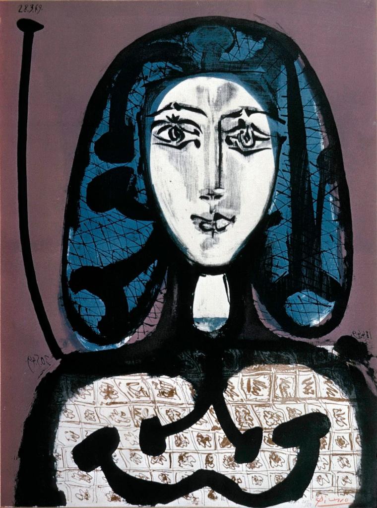 圖四:《戴髮網的女子》(Woman with Hairnet),1949,彩色石版。