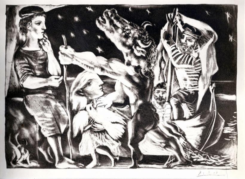圖九:《瞎眼的牛頭人身獸》(The Blind Minotaur),1934,仿美柔汀手法的粉末腐蝕法。