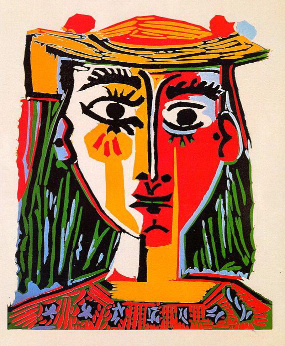 圖六:《戴帽女子胸像》(Buste de Femme au Chapeau),1962,彩色膠版,63 x 53 cm。