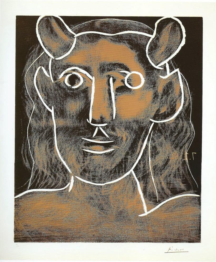 圖七:《牧神頭像》(Head of a Faun),1962,彩色膠版。