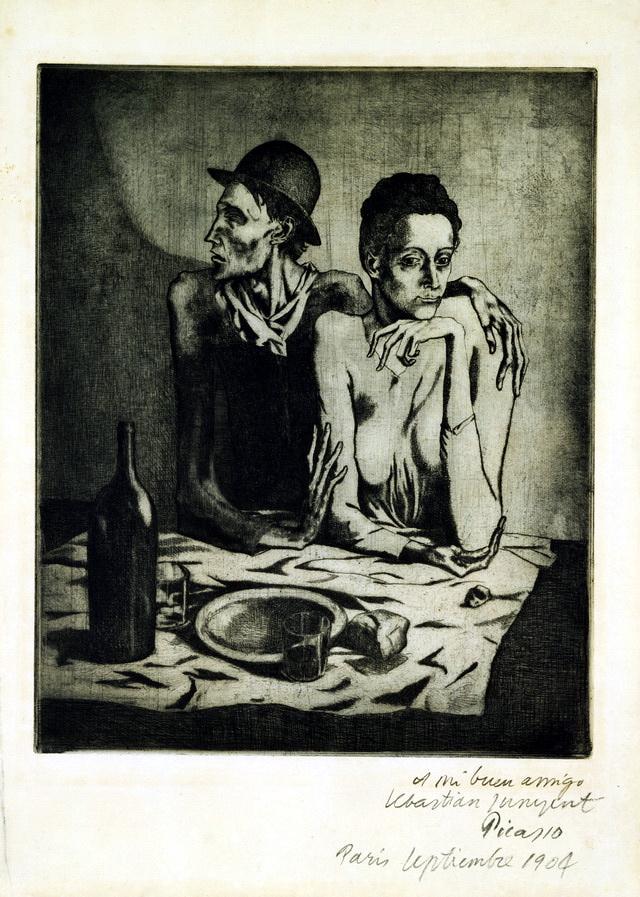 圖一:《簡陋的膳食》(Frugal Repast),1904,蝕刻,46.2 x 37.8 cm, The Museum of Modern Art, New York.。