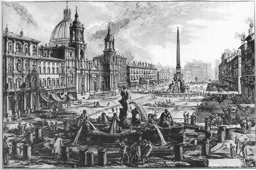 納沃納廣場(Piazza Navona):羅馬的一座廣場,原為西元一世紀古羅馬的競技場,十五世紀末闢為市場。貝里尼(Giovanni Lorenzo Bernini, 1598-1680)設計了廣場中間著名的四河噴泉(1651年)。