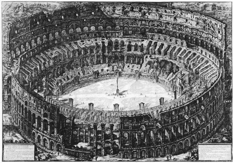 羅馬圓形競技場(Colosseum),為古羅馬時期最大的圓形競技場,建於西元72年至82年,遺跡現位於羅馬市中心。