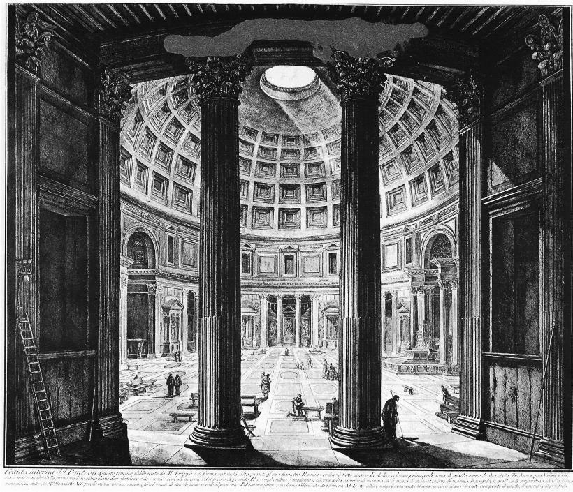 萬神殿(Pantheon)內部,古羅馬時的一座寺廟,後改建成教堂,為古羅馬重要的建築成就之一。
