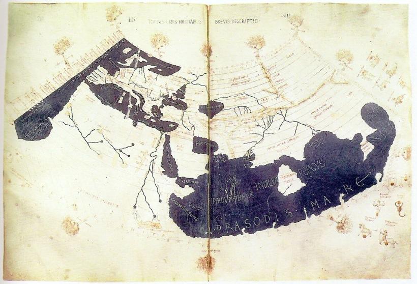 托勒密世界地圖的十五世紀手稿複刻件,已見到遠東地區的中國(Sinae)、斯里蘭卡(Taprobane)及馬來半島(Aurea Chersonesus)了。