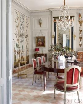 【餐廳】二十世紀Jansen製重新包覆Hermès皮革餐椅、十八世紀桃花心木餐桌、Baguès吊燈、十八世紀壁爐上裝飾鏡