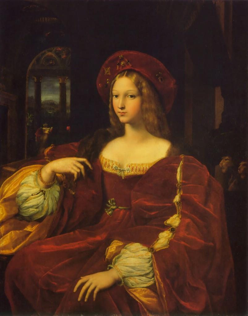 拉菲爾,《阿拉岡的約翰娜》(Joanna of Aragon),1518,油彩畫布,120 x 95 cm,Musée du Louvre, Paris, France。
