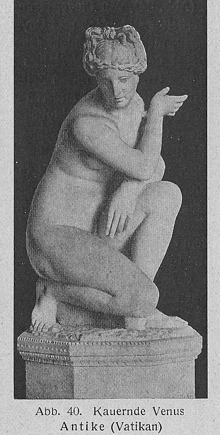 德國藝術史家E. Hildebrandtte提到的在梵諦岡的《蹲下的維納斯》。