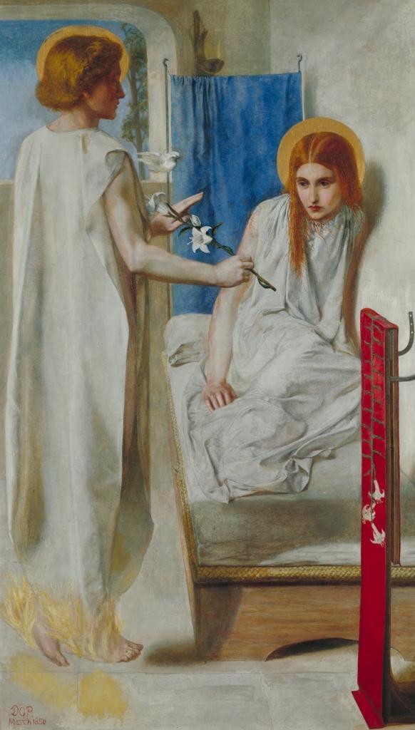羅塞蒂(Dante Gabriel Rosetti, 1828-1882),報喜圖,油彩畫布,1850,倫敦泰德美術館(Tate Britain)。前拉菲爾畫派畫家羅塞蒂象徵聖潔的白色鋪陳畫面,天使加百列與瑪麗亞都穿著款式相同的袍子,他略去基督教圖像學表現天使加百列身份的鮮豔翅膀,營造冷肅,甚至略顯蒼白的空間,瑪麗亞面對那象徵純潔的百合,彷彿顯得畏縮,不敢接取。