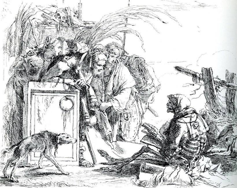 圖九:提波羅蝕刻版畫「卡普麗奇('Caprizzi Scherzi)」連作第一張。