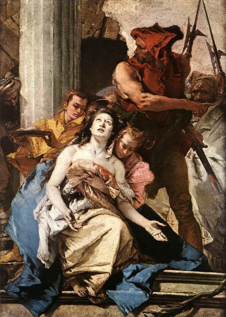 圖七:提波羅,《聖亞佳塔殉道圖》(The Martyrdom of St. Agatha),約1756,油彩畫布,184 x 131 cm, Staatliche Museen, Berlin, Germany。