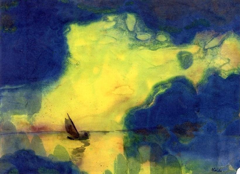 德國表現主義畫家埃米爾•諾爾德(Emil Nolde,1867-1956),《薄暮中的大海》,水彩,私人收藏。
