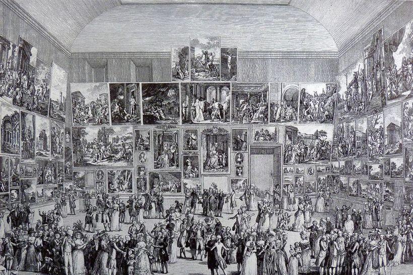 馬替尼(Pietro Antonio Martini,1738–1797),1787年沙龍展,銅版蝕刻,巴黎國家圖書館(Paris, Bibliothèque nationale)