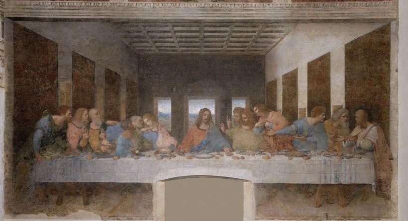達文西(Leonardo da Vinci, 1452-1519),最後晚餐,蛋彩石膏壁畫,1494–1498,義大利米蘭恩寵聖母修道院(Santa Maria delle Grazie, Milan)。