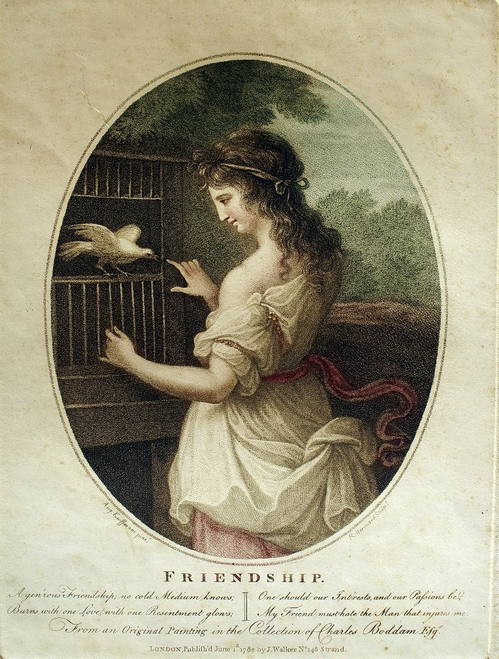 Angelica Kauffmann, (1741-1807)/ Robert-Samuel Marcuard, (1751-1792),友誼(Friendship),彩色銅版細點技法(colour stipple print),1782. 06.01。