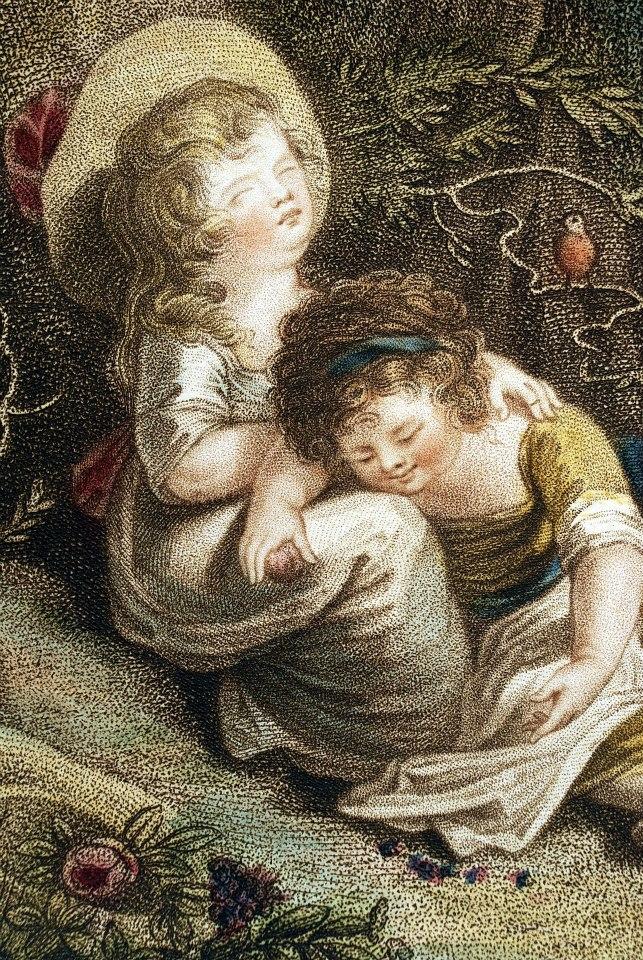 《林中的孩子》局部,可以見到細點技法處理畫面的肌里。