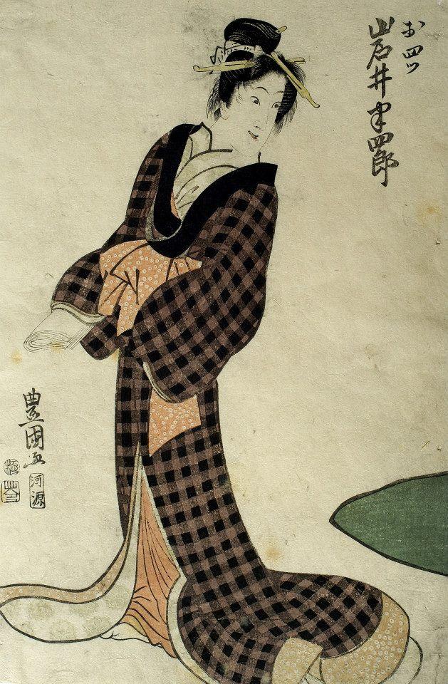 日本浮世繪源於十七世紀,在吸收了中國木刻版畫的技法之後,結合當時日本特有的繪畫傳統,刻繪日常生活、風景和各式風俗與人物,這種技法繁複、主題鮮明的彩色木刻版畫,在十九世紀中影響了西洋藝術的發展。 日本江戶時代盛行「歌舞伎」,當時著名的演員大受歡迎,順理成章成為浮世繪版畫的主要題材,名為「役者繪」(即優伶畫或演員畫)。歌川豐國是豐春(1735-1814)的弟子,青出於藍,發揚歌川派,成為第一代豐國,其名字由弟子一代代地繼承下去,影響深遠。歌川豐國可說擷取當時浮世繪各家大師的精髓,以其豐富的創造力,走出美人繪原有的格局,並加入豐富的社會題材,十九世紀前半葉重要的浮世繪藝術家,幾乎都是他的弟子。他擅長描寫優伶,能捕捉出伶者的戲劇張力與動態表情,這張《岩井本四郎》便是其中的翹楚,除去背景,只專注在演員本身的意態,並運用壓凸技法印出衣飾上的花紋。